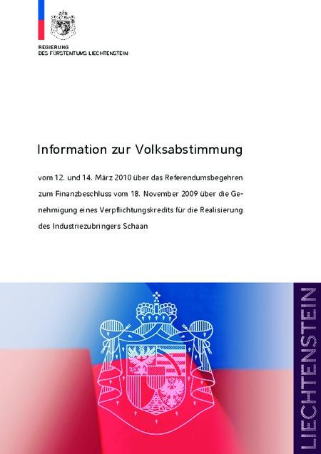 Information zur Volksabstimmung - Regierungsbroschüre