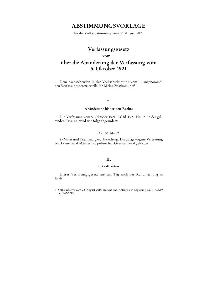 Abstimmungsvorlage