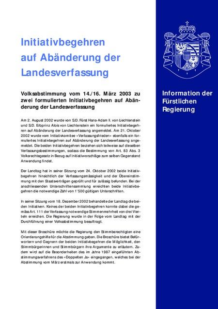 Informationsbroschüre der Regierung